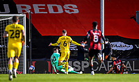 13th March 2021; Vitality Stadium, Bournemouth, Dorset, England; English Football League Championship Football, Bournemouth Athletic versus Barnsley; Dominic Solanke of Bournemouth shoots and scores in 45th minute for 2-1