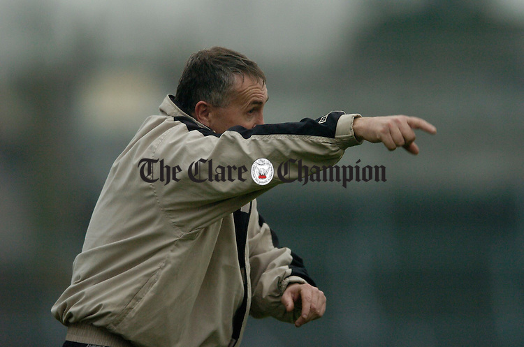 Clare joint manager Donie Buckley on the sideline  during the NFL match against Carlow in Cusack Park. Photograph by John Kelly.