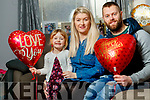 Kathy Prendergast and Adam Whyte who are getting married on Valentines day pictured with their daughter Ava.