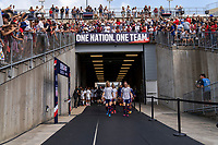 EAST HARTFORD, CT - JULY 5: Samantha Mewis #3 and Becky Sauerbrunn #4 of the USWNT enter the field during a game between Mexico and USWNT at Rentschler Field on July 5, 2021 in East Hartford, Connecticut.