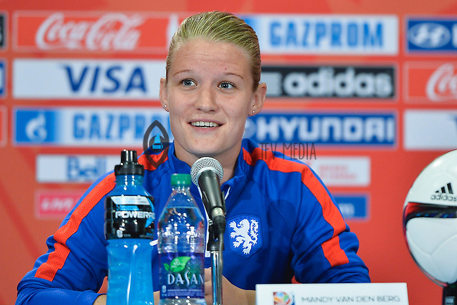 Netherlands' defended Mandy Van Den Berg address press conference on the even of the opening Women's World Cup Soccer match, June 05, 2015 in Edmonton, Alberta. (Mo Khursheed/TFV Media via AP Images)