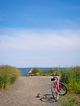 Bike with pathway to the beach. Long Island Sound, CT