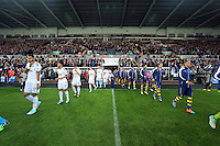 Sunday 09 November 2014 <br /> Pictured: Players of both teams exit the tunnel<br /> Re: Barclays Premier League, Swansea City FC v Arsenal City at the Liberty Stadium, Swansea, Great Britain.