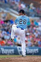 Durham Bulls relief pitcher Kyle Winkler (26) in action against the Buffalo Bisons at Durham Bulls Athletic Park on April 30, 2017 in Durham, North Carolina.  The Bisons defeated the Bulls 6-1.  (Brian Westerholt/Four Seam Images)
