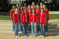 30 September 2005: Women's Gymnastics team photo: Top row (l to r) Jessica Louie, Glyn Sweets, Natalie Foley, Heather Purnell. Second row: Stephanie Gentry, Tabitha Yim, Nicole Ourada, Lauren Elmore, Alex Pintchouk. Bottom row: Aimee Precourt, Stacy Sprando, Liz Tricase, Kelly Fee.