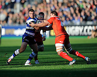George Ford of Bath Rugby is held by Louis Picamoles of Stade Toulousain during the European Rugby Champions Cup  Round 2 match between Bath Rugby and Stade Toulousain at The Recreation Ground on Saturday 25th October 2014 (Photo by Rob Munro)
