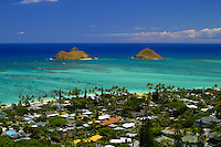 A spectacular view of the Moku Lua islands,Lanikai and Lanikai Beach as seen from the Lanikai Ridge trail. Windward oahu.