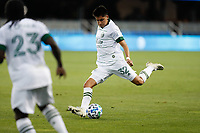 SAN JOSE, CA - SEPTEMBER 16: Marco Farfan #32 of the Portland Timbers during a game between Portland Timbers and San Jose Earthquakes at Earthquakes Stadium on September 16, 2020 in San Jose, California.