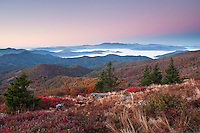 Autumn vista comes to the North Toe River Valley, as viewed from Round Bald