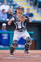Nashville Sounds catcher Luke Carlin (3) behind the plate against the Oklahoma City Dodgers at Chickasaw Bricktown Ballpark on April 15, 2015 in Oklahoma City, Oklahoma. Oklahoma City won 6-5. (William Purnell/Four Seam Images)