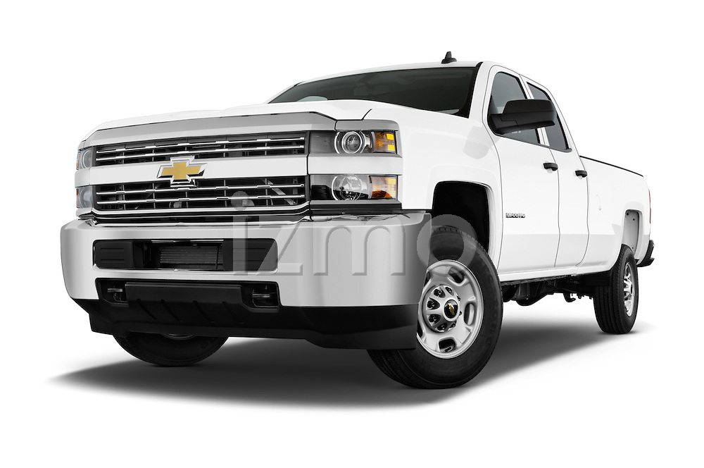 Stock pictures of low aggressive front three quarter view of a 2015 Chevrolet Silverado 2500 HD Work Truck Double Cab LWB 4 Door  Low Aggressive