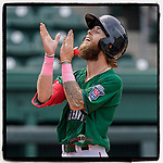 Cole Brannen (5) of the Greenville Drive celebrates after hitting a home run in a game against the Bowling Green Hot Rods on Sunday, May 9, 2021, at Fluor Field at the West End in Greenville, South Carolina. (Tom Priddy/Four Seam Images)