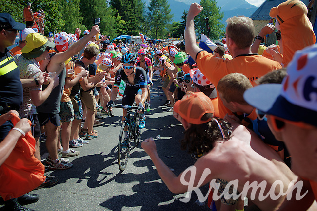 Nicolas Roche (IRL/SKY) experiencing the craziness at the Dutch Corner (nr7) up Alpe d'Huez<br /> <br /> stage 20: Modane Valfréjus - Alpe d'Huez (111km)<br /> 2015 Tour de France