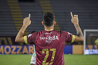 IBAGUE - COLOMBIA, 30-03-2021: Gustavo Ramirez del Tolima celebra después de anotar el segundo gol de su equipo partido entre Deportes Tolima y Atlético Nacional por la fecha 16 como parte de la Liga BetPlay DIMAYOR I 2021 jugado en el estadio Manuel Murillo Toro de la ciudad de Ibagué. / Gustavo Ramirez of Tolima celebrates after scoring the second goal of his team during match between Deportes Tolima and Atletico Nacional for the date 16 as part of BetPlay DIMAYOR League I 2021 played at Manuel Murillo Toro stadium in Ibague. Photo: VizzorImage / Juan Torres / Cont