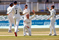 Matt Parkinson (C) of Lancashire is congratulated after taking the wicket of Darren Stevens during Kent CCC vs Lancashire CCC, LV Insurance County Championship Group 3 Cricket at The Spitfire Ground on 24th April 2021