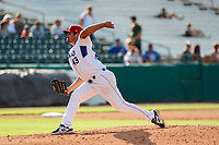 Tennessee Smokies pitcher Brendon Little (43) delivers a pitch to the plate against the Rocket City Trash Pandas at Smokies Stadium on July 2, 2021, in Kodak, Tennessee. (Danny Parker/Four Seam Images)