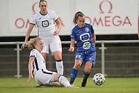 Charlotte Tison (20) of Anderlecht and Jasmien Mathys (12) of AA Gent Ladies  pictured during a female soccer game between RSC Anderlecht Dames and AA Gent Ladies  on the fourth matchday of the 2021 - 2022 season of Belgian Womens Super League , friday 10 th of September 2021 in Overijse , Belgium . PHOTO SPORTPIX | DIRK VUYLSTEKE