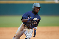Ryan Spikes (26) of Parkview HS in Lilburn, GA playing for the Milwaukee Brewers scout team hustles towards third base during the East Coast Pro Showcase at the Hoover Met Complex on August 2, 2020 in Hoover, AL. (Brian Westerholt/Four Seam Images)
