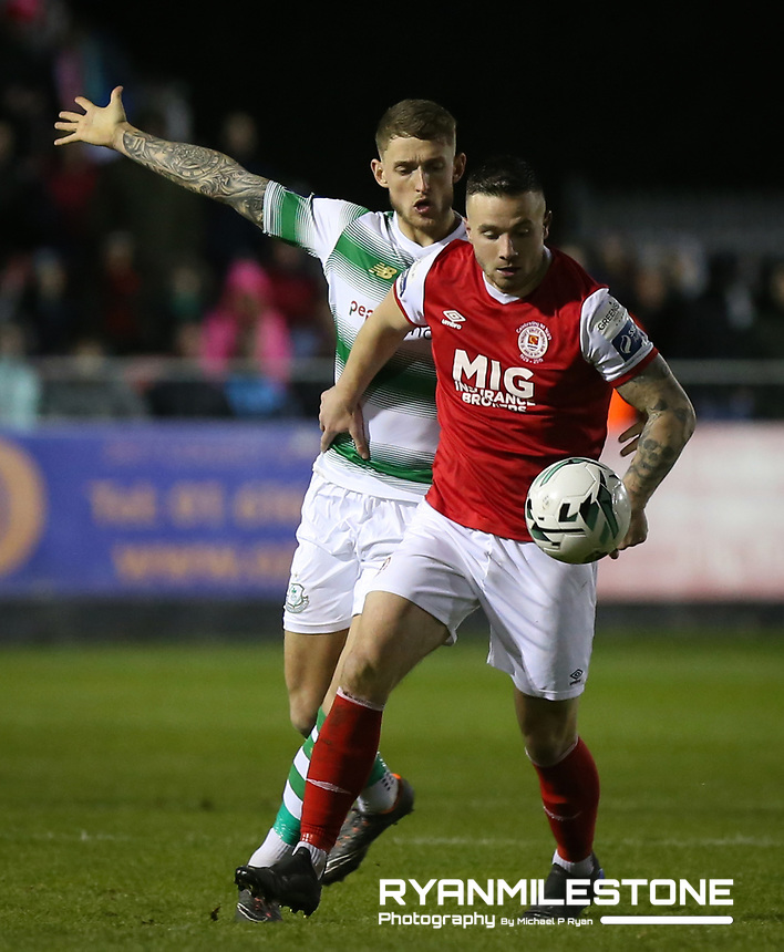 SSE Airtricity League Premier Division,<br /> St Patrick's Athletic vs Shamrock Rovers<br /> Friday 8th March 2019,<br /> Richmond Park, Dublin.<br /> Mikey Drennan of St Patrick's Athletic in action against Lee Grace of Shamrock Rovers<br /> Mandatory Credit: Michael P Ryan