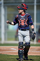 Minnesota Twins Caleb Hamilton (22) during a minor league Spring Training game against the Baltimore Orioles on March 17, 2017 at the Buck O'Neil Baseball Complex in Sarasota, Florida.  (Mike Janes/Four Seam Images)