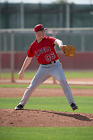 Los Angeles Angels relief pitcher John Swanda (96) during a Minor League Spring Training game against the Cincinnati Reds at the Cincinnati Reds Training Complex on March 15, 2018 in Goodyear, Arizona. (Zachary Lucy/Four Seam Images)