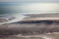 Aerial of the dusty, windy, Copper River Delta.