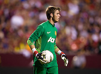 David De Gea (1) of Manchester United holds the ball during the friendly at FedEX Field in Landover, MD.  Manchester United defeated FC Barcelona, 2-1.