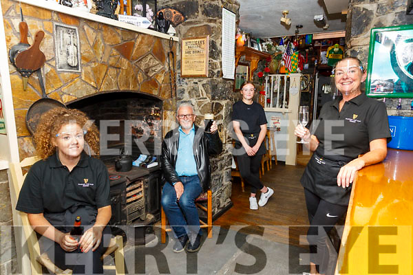 Pub Opening: Marina Cahill, proprietor,  Tanker's Bar, Listowel, on right pictured with Emma Browne, Andrew Loughnane  & Daisy Walsh on pub reopening day.