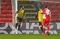 Andre Gray of Watford celebrates after he scores the opening goal during the Sky Bet Championship behind closed doors match between Watford and Wycombe Wanderers at Vicarage Road, Watford, England on 3 March 2021. Photo by David Horn.