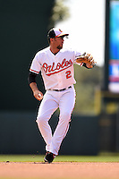 Baltimore Orioles infielder J.J. Hardy (2) during a Spring Training game against the Tampa Bay Rays on March 14, 2015 at Ed Smith Stadium in Sarasota, Florida.  Tampa Bay defeated Baltimore 3-2.  (Mike Janes/Four Seam Images)