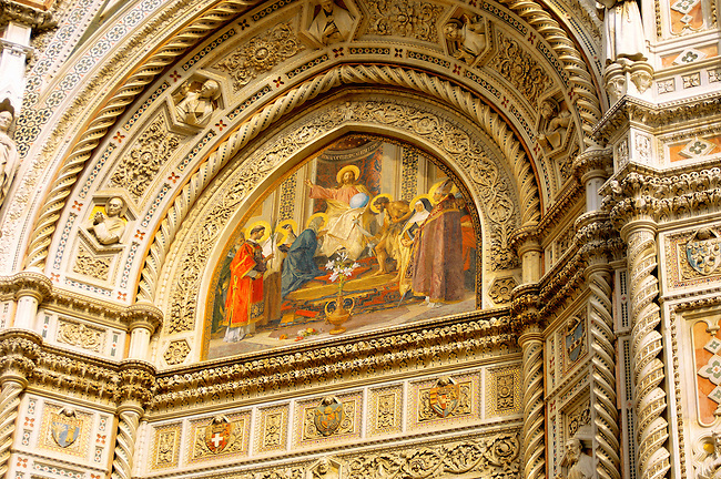 The Dome Catheral - Detail of Christ picture  and  main entrance -  Florence Italy