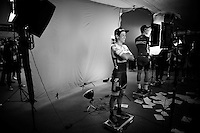Johan Esteban Chaves (COL/Orica-GreenEDGE) being 'videographed' ahead of the Grande Partenza in Apeldoorn (NLD): team presentation of the 99th Giro d'Italia 2016 on the evening before the 1st stage