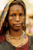 Baleyara, Niger.  Nigerien Woman with Facial Scarification.