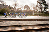 race lead group speeding along<br /> <br /> 44th AG Driedaagse Brugge-De Panne 2020 (1.UWT / BEL)<br /> 1 day race from Brugge to De Panne (203km shortened to 188km due to the windy weather conditions) <br /> <br /> ©kramon4