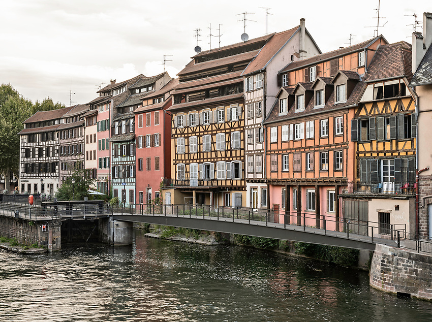 View along the River Ill, Strasbourg, in early morning
