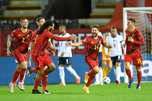 15th November 2020; Leuven, Belgium;  Dries Mertens forward of Belgium celebrates scoring his goal with teammates during the UEFA Nations League match group stage final tournament - League A - Group 2 between Belgium and England