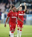 08.08.2019 FC Midtjylland v Rangers: Alfredo Morelos celebrates to the Rangers fans at full time