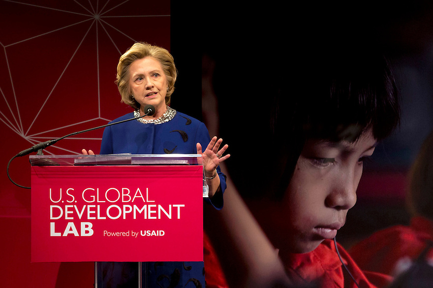 New York, April 3, 2014. Former US Secretary of State, Hillary Clinton makes a speech at the launch of the U.S. Global Development Lab, an agency of US Aid.  Alamy/Trevor Collens.