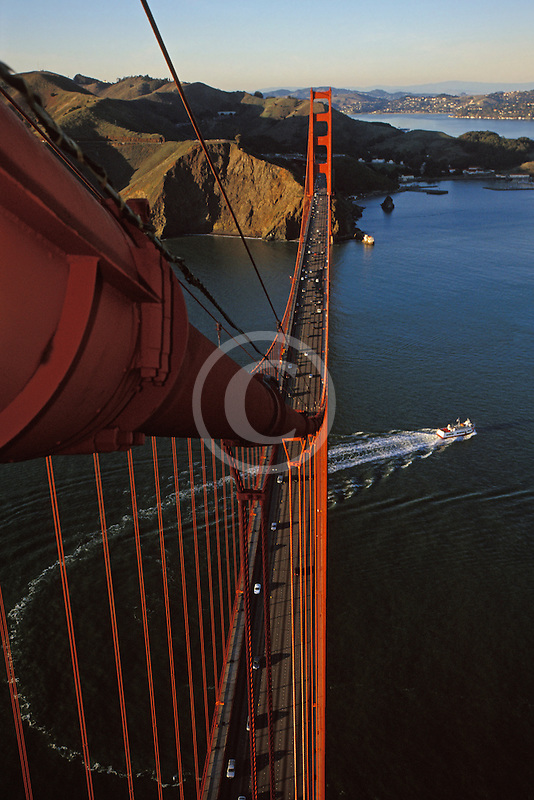 California, San Francisco, Golden Gate Bridge and ferry from South tower