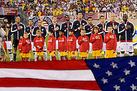 United States starting eleven during the national anthem. The men's national team of Brazil (BRA) defeated the United States (USA) 2-0 during an international friendly at the New Meadowlands Stadium in East Rutherford, NJ, on August 10, 2010.