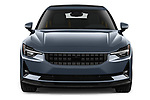 Car photography straight front view of a 2021 Polestar Polestar-2 Pilot-Plus 5 Door Hatchback Front View