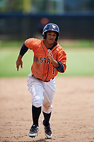 GCL Astros second baseman Sean Mendoza (1) runs the bases during a game against the GCL Nationals on August 6, 2018 at FITTEAM Ballpark of the Palm Beaches in West Palm Beach, Florida.  GCL Astros defeated GCL Nationals 3-0.  (Mike Janes/Four Seam Images)