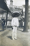 St Louis Mo:  View of one of the Arizona Copper Miners posing for a photograph.  The Arizona territory was promoting itself for statehood.