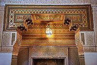 Berber Arabesque Mocarabe plasterwork fire surround.The Grand Court, Bahia Palace, Marrakesh, Morroco