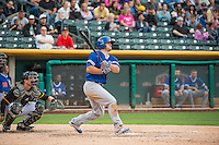 Scott Schebler (8) of the Oklahoma City Dodgers at bat against the Salt Lake Bees in Pacific Coast League action at Smith's Ballpark on May 25, 2015 in Salt Lake City, Utah.  (Stephen Smith/Four Seam Images)