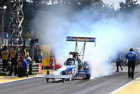 Aug. 4, 2013; Kent, WA, USA: NHRA top fuel dragster driver T.J. Zizzo during the Northwest Nationals at Pacific Raceways. Mandatory Credit: Mark J. Rebilas-USA TODAY Sports
