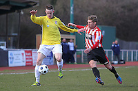 Lewis Smith in action for Hornchurch - AFC Hornchurch vs Bromley - Blue Square Conference South Football at The Stadium, Upminster Bridge, Essex - 01/04/13 - MANDATORY CREDIT: Gavin Ellis/TGSPHOTO - Self billing applies where appropriate - 0845 094 6026 - contact@tgsphoto.co.uk - NO UNPAID USE.