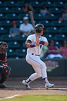Evan Skoug (19) of the Winston-Salem Dash follows through on his swing against the Carolina Mudcats at BB&T Ballpark on June 1, 2019 in Winston-Salem, North Carolina. The Mudcats defeated the Dash 6-3 in game one of a double header. (Brian Westerholt/Four Seam Images)