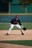 Adam Hunt (26), from Elkhorn, Nebraska, while playing for the Astros during the Baseball Factory Pirate City Christmas Camp & Tournament on December 28, 2017 at Pirate City in Bradenton, Florida.  (Mike Janes/Four Seam Images)