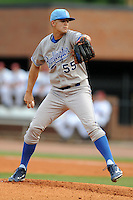 Burlington Royals starting pitcher Christian Binford #55  delivers a pitch during  a game against the Greenville Astros at Pioneer Park on August 17, 2012 in Greenville, Tennessee. The Astros defeated the Royals 5-1. (Tony Farlow/Four Seam Images).